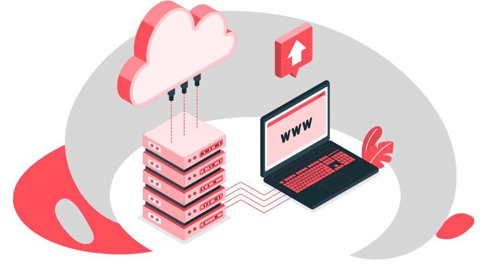 grafico en color rojo y escala de grises de Cómo crear un sitio web paso a paso