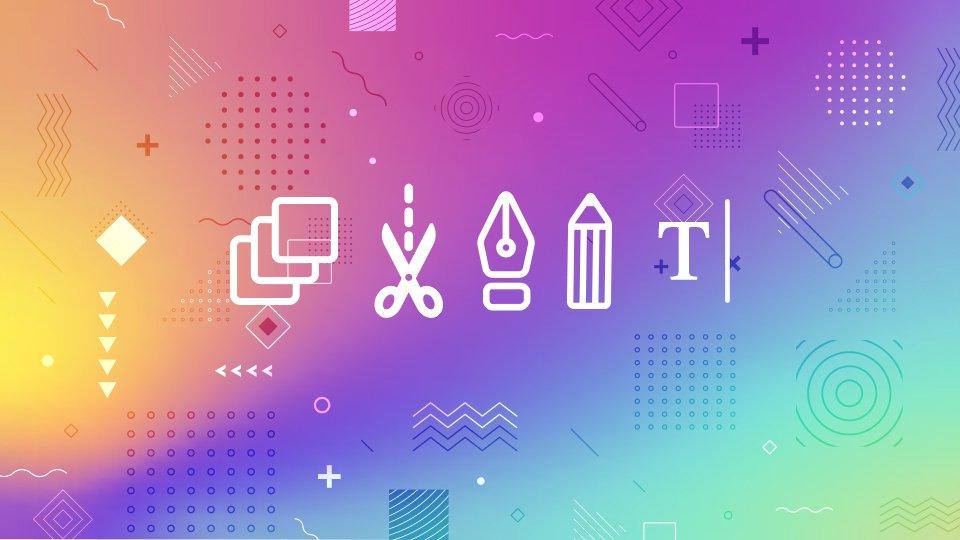 iconos outline sobre degradado
