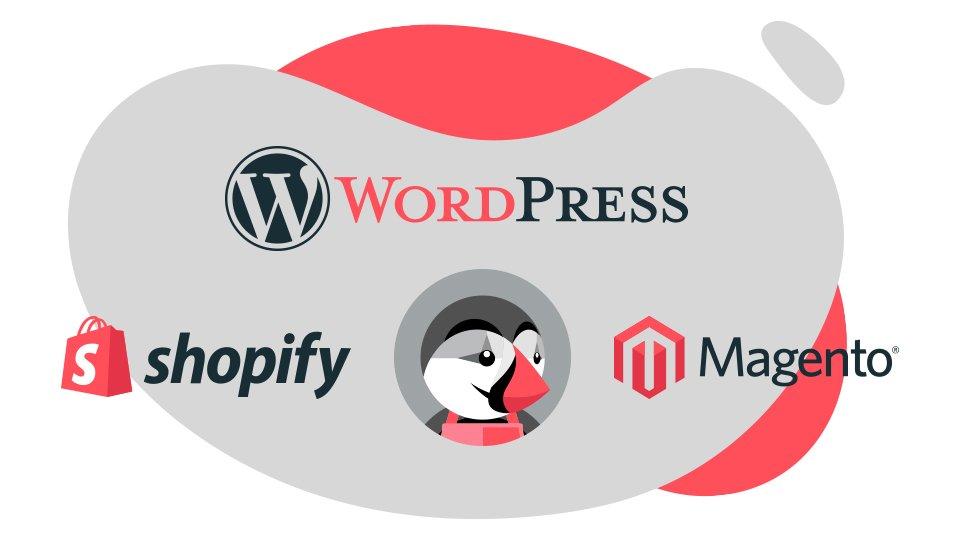 imagen con logotipos de wordpress, shopify, magento, presta shop de Cómo crear un sitio web paso a paso