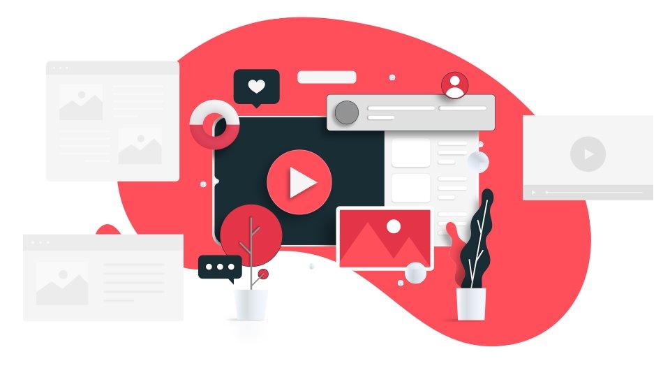 grafico e iconos en color rojo y escala de grises sobre fondo blancod de Cómo crear un sitio web paso a paso