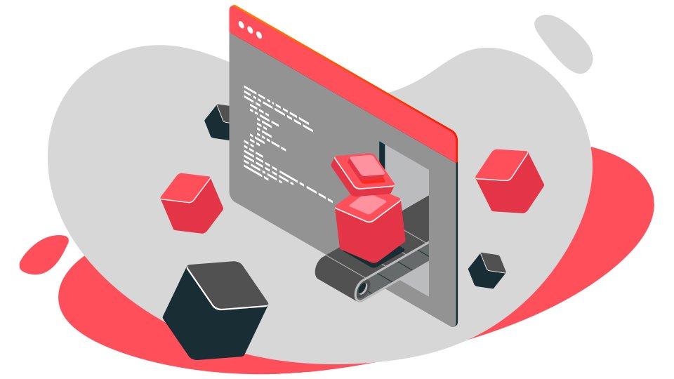 grafico en color rojo y escala de grises con iconos y diversas figuras de Cómo crear un sitio web paso a paso
