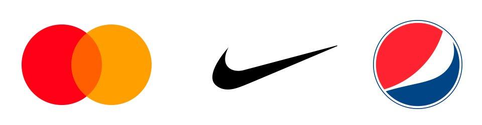 fondo blanco con icono de mastercard nike y pepsi, conocido como logo abstracto