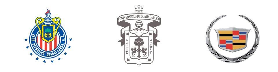 fondo blanco con escudo de las chivas, UDG y cadillac, conocido como logo emblema.