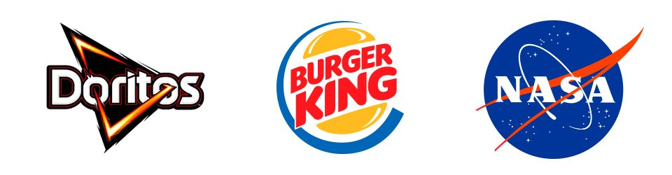 fondo blanco con logo de doritos, burguer king y la nasa, conocido como isologo.