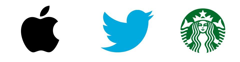 fondo blanco con logo de apple, twitter y starbucks, conocidos como isotipos.