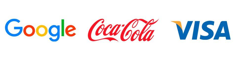 logotipo de google, coca cola y visa