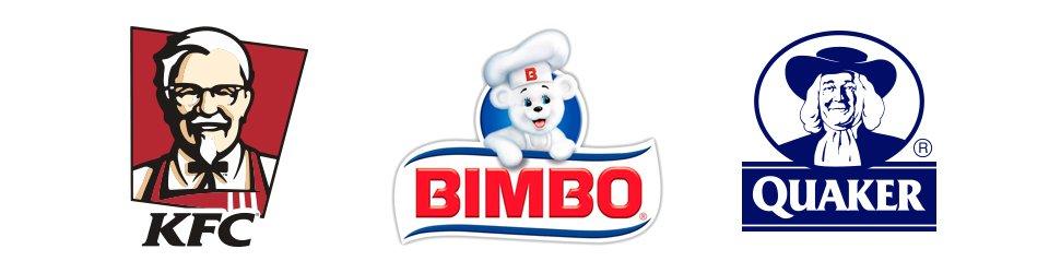 fondo blanco con logo de kfc bimbo y quaker oats, conocidos como logo mascota.