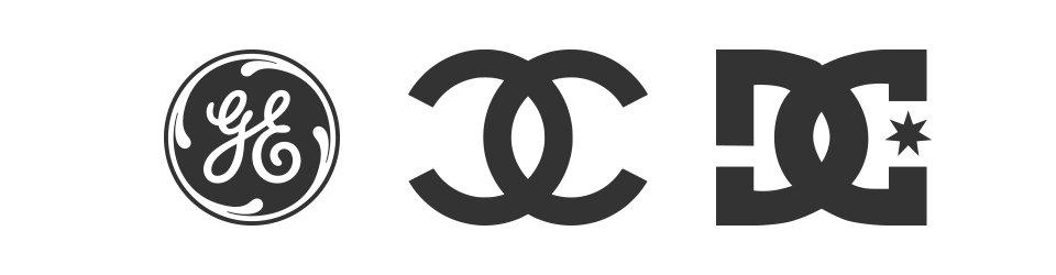 fondo blanco con iconos de general electric coco channel y marca DC, conocidos como logo mograma