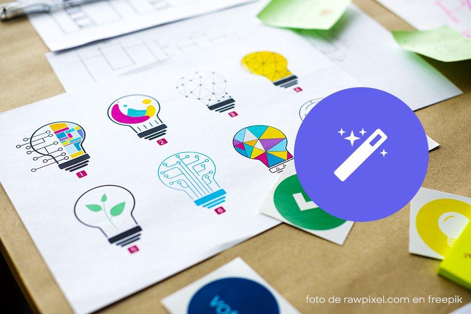 hoja con ilustraciones digitales de bombillas de luz con diferentes patrones y boton azul morado etapa detallar de de Cómo crear tu logo en 5 etapas