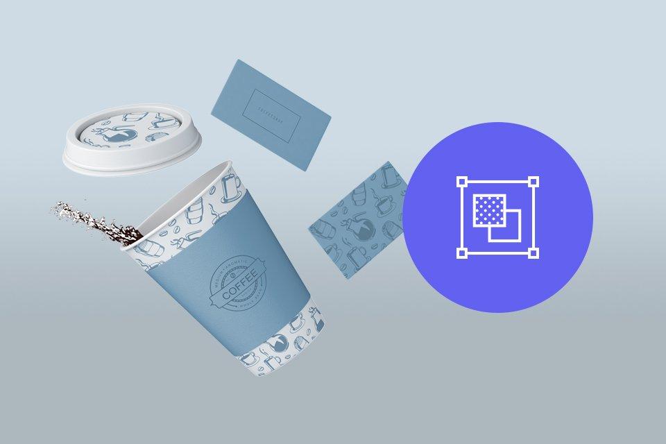 fondo degradado azul y gris con imagen de vaso desechable de cafe y tarjetas de presentación con boton azul morado e icono etapa definir de Cómo crear tu logo en 5 etapas
