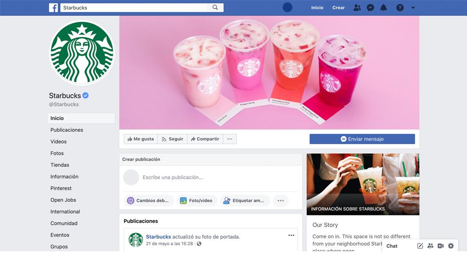 Estrategias de branding para redes sociales, cubre lo basico, ejemplo imagen de perfil de facebook starbucks