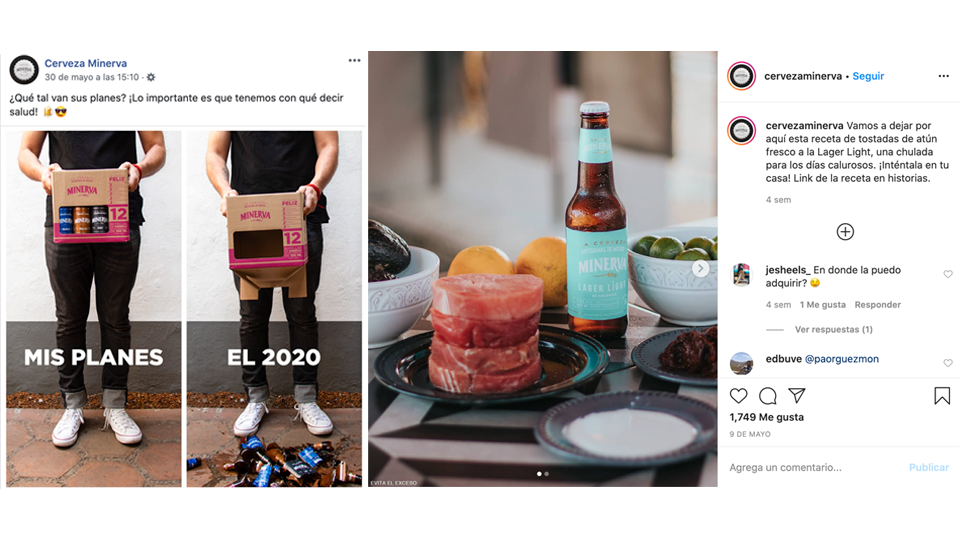 Estrategias de branding para redes sociales, desarrolla tus personajes de marketing, ejemplo imagen meme en facebook y post de instagram cerveza minerva