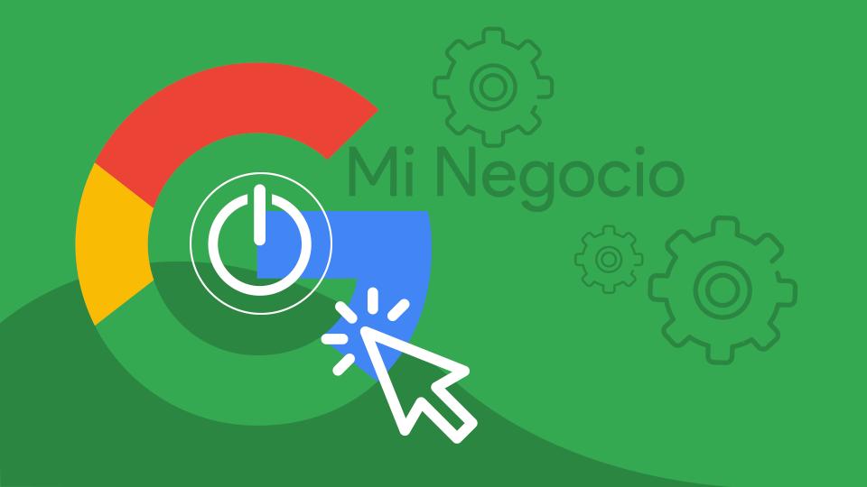imagen que ilustra Comienza en Google Mi Negocio, icono de google y un icono de click