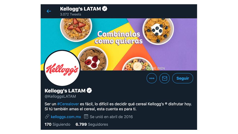 ilustra Crea múltiples cuentas para diferentes segmentos, ejemplo imagen de la cuenta de kelloggs en twitter