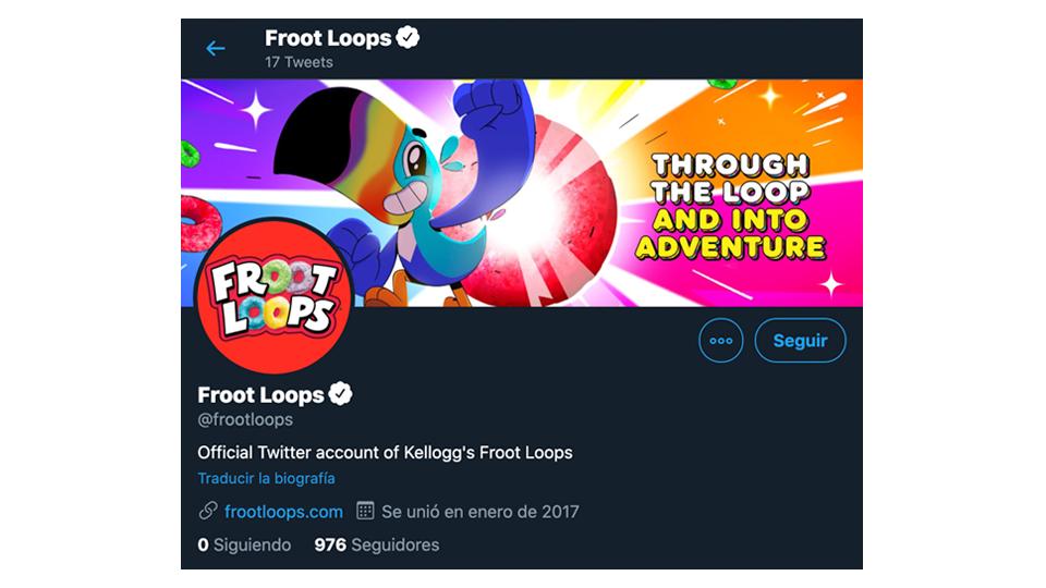 ilustra Crea múltiples cuentas para diferentes segmentos, ejemplo imagen de la cuenta de froor loops en twitter