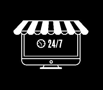 icono de disponibilidad 24 7 blanco